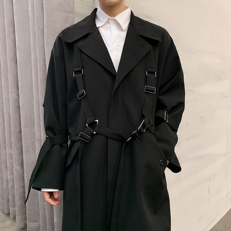 Men High Street Punk Hip Hop Ribbon Loose Long Trench Coat Spring Autumn Male Streetwear Fashion Windbreaker Jacket