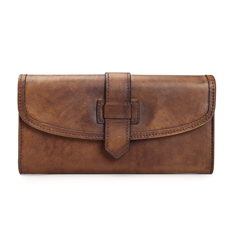 ФОТО 2016 Vintage Imported Cow Leather Wallets Bag Purses Women Men Long Clutch Vegetable Tanned Leather Wallet Card Holder Coin Pock