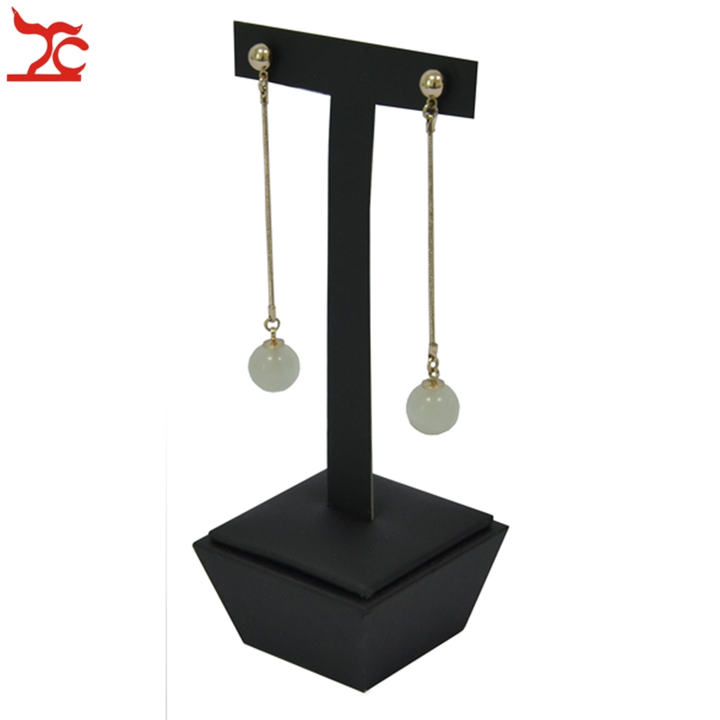 Stainless Steel Jewelry Window Counter Showcase Black Leatherette Necklace Ring Bracelet Pendant Earring Display Stand