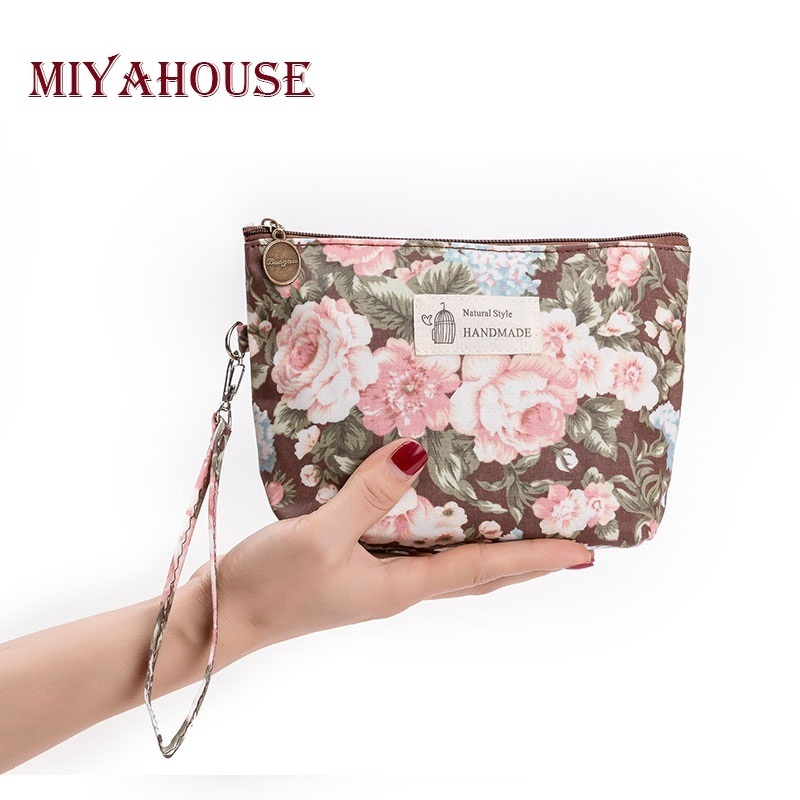 Miyahouse Hot Sale Retro Floral Design Makeup Bags Female Zipper Cosmetic Bag Portable Travel Make Up Pouch For Women hot sale ethnic floral pattern pashmina for women
