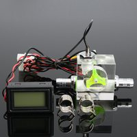 Newest Water Liquid Cooling 3 Way Flow Meter LED Light Thermometer G1 4 Threaded Connector