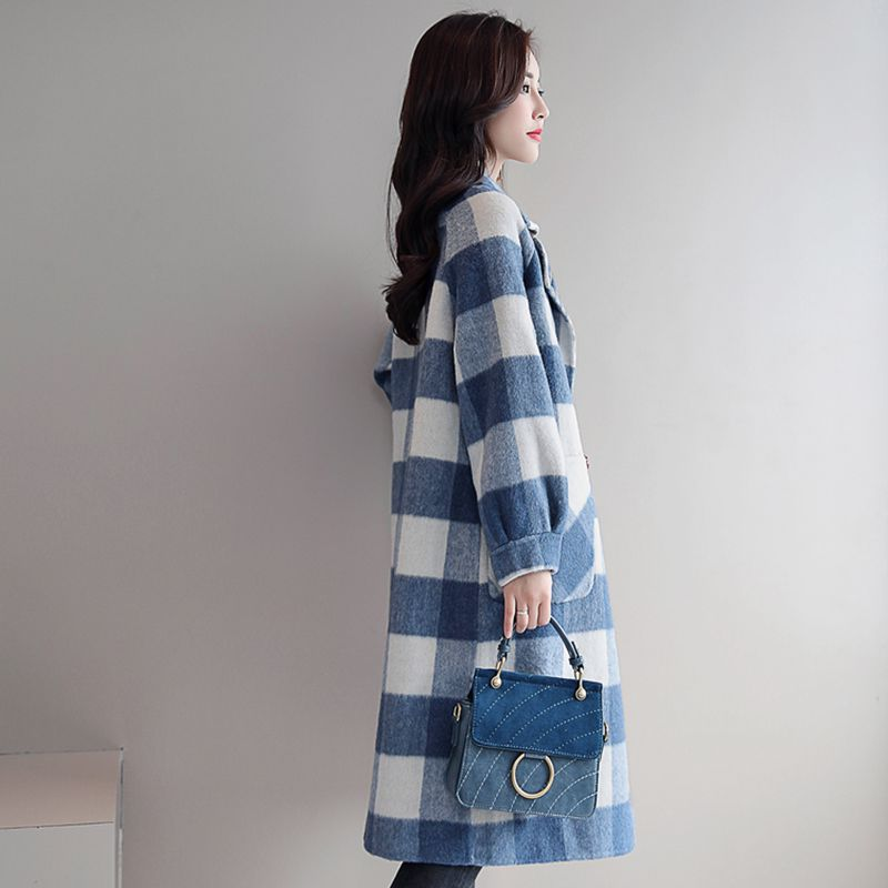 Lâche De Ladies790 Laine Mode Automne Occasionnel Plaid Blue Grande Taille Femme Nouveau Veste Femmes Hiver pink Manteau Style E4ZffwPqx
