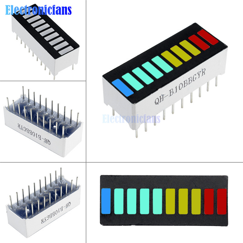 10Pcs/Lot 10 Segment Full Color LED Bargraph Light Display Module Ultra Bright Red Yellow Green Blue(RYGB) Dip DIY
