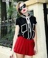 Лето 2016 контрастность цвет Топ Кружева Рубашки Тонкий Моды Блузка Элегантных Женщин дизайнер куб. см Бренд Высокого Качества Черный Белый blusas