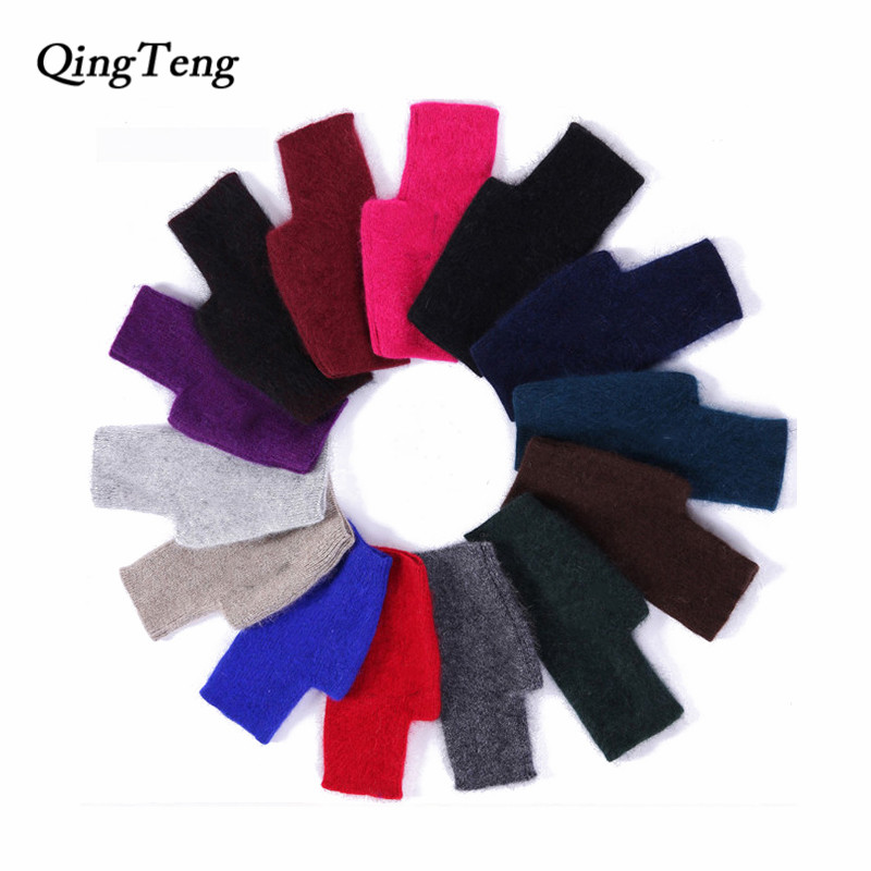 Winter Warm Mink Cashmere Knitted Fingerless Female Gloves