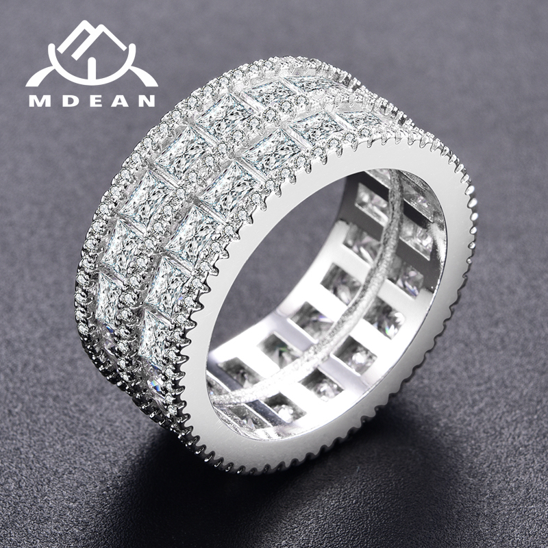MDEAN White Gold Color Rings for Women Round AAA Zircon Jewelry Engagement  Wedding Bague Bijoux Size 6 7 8 MSR376