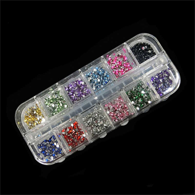 1200Pcs/lot Round Rhinestones Hard Case Nail Art Tips Stickers Acrylic Uv Gel Nail Decal Decor Makeup Tool 2MM