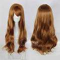 Full Lace Human Natural Synthetic Wigs Heat Resistant 70cm Brown Curly Wavy Long Hair With Fringe For White/Yellow/Black Women