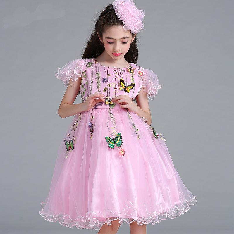 2018 Spring   Flower     Girl     Dresses   New Pink   Flowers   Butterfly Lace   Dress   Romantic Sleeves Wedding Party Cute Vestidos Ninas Boda