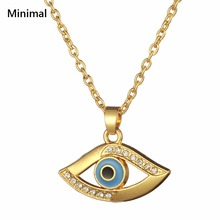 Minimal Brand Religious Crystal High Quality Gold Color Fashion Evil Eye Pendant Gold Women Necklace