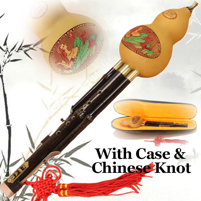 Chinese Bamboo Flute Hulusi Professional Ethnic Musical Instrument Hand Made Woodwind Gourd Cucurbit Flauta In C&Bb With Case 5set white paint traditional chinese bamboo flute dizi pluggable f key musical instrument