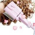 Pink Color 3 Barriles Turmalina Rizador de Pelo de Cerámica de la Ondulación del Agua big wave hair curling varita tong agitando pelo styler twiste hierro