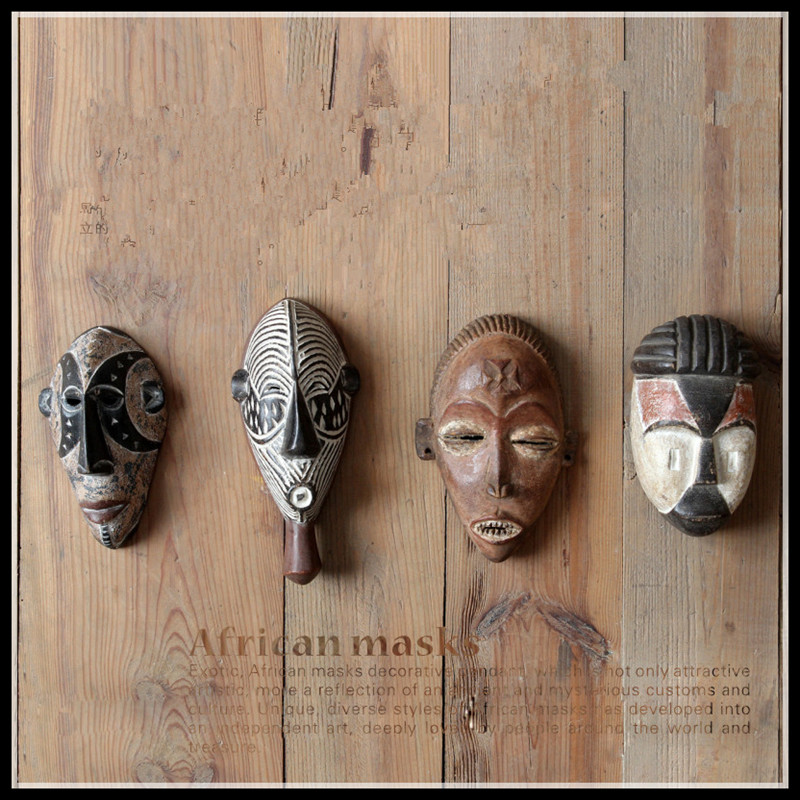 Set Of 4 African Mask Figurine Wall Decorations Living