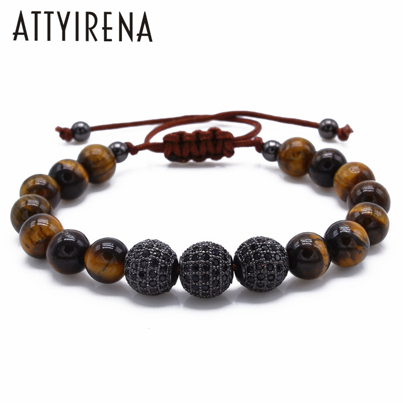 New Men Bracelet 8MM Tiger Eye Stone & 10mm Micro Pave Black CZ Beads Braiding Bracelet  ...