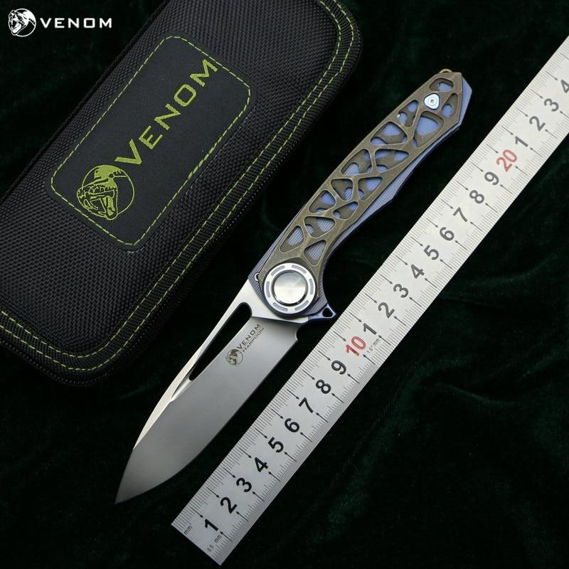 VENOM HARPOON M390 Steel Titanium CF Flipper Folding Knife Outdoor Camping Hunting Survival Pocket Kitchen Fruit Knives EDC Tool