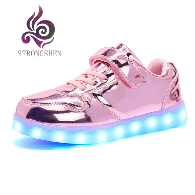 25-35 Size USB New Charging Led Children Shoes With Light Up Kids Casual Boys&Girls Luminous Sneakers Glowing Shoe Mesh surface