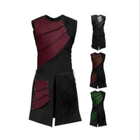 Halloween Cosplay New Sleeveless Round Neck Side Straps Stitching Medieval Men's Retro Samurai Battle Show Party Suit