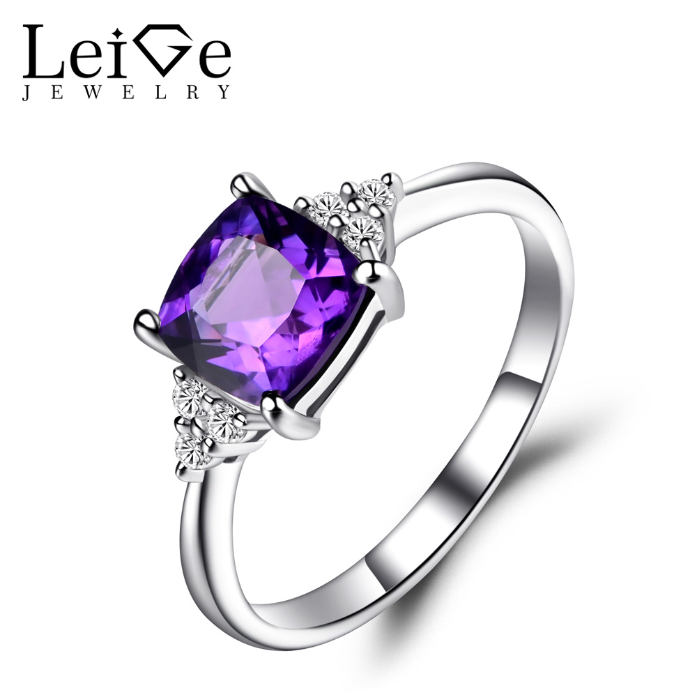 Leige Jewelry Amethyst Ring Sterling Silver 925 Wedding Engagement Rings for Women 7*7mm Cushion Cut 1.5 CT Purple Gemstone 1 5 carat ct 7mm cushion cut engagement