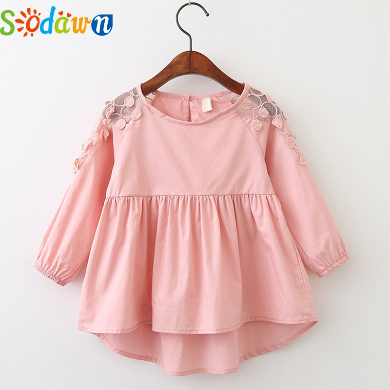 Sodawn Autumn New Girl Clothes Flowers Embroidered Hollow Long Sleeve Shirt Dress Children Clothing Fashion Baby Girls Dress