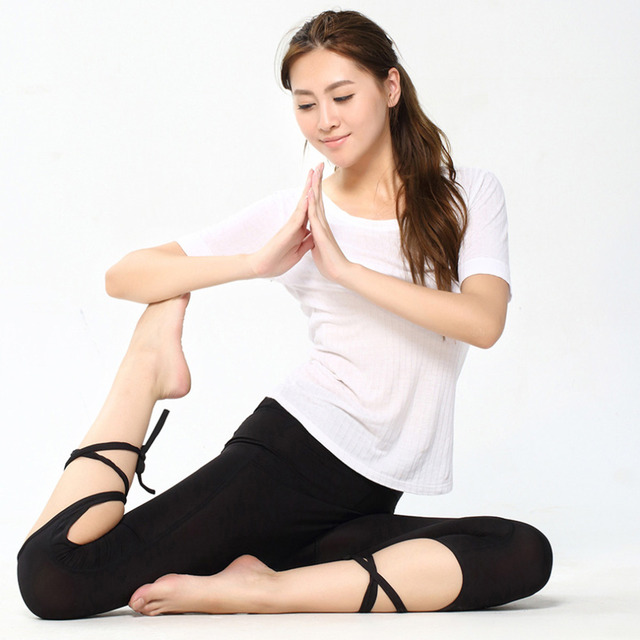 Yoga Tights Leggings Pants Ballet Spirit Bandage Cross-line Quick Dry Elastic Waist Sportswear For Fitness Dance Sports Trousers