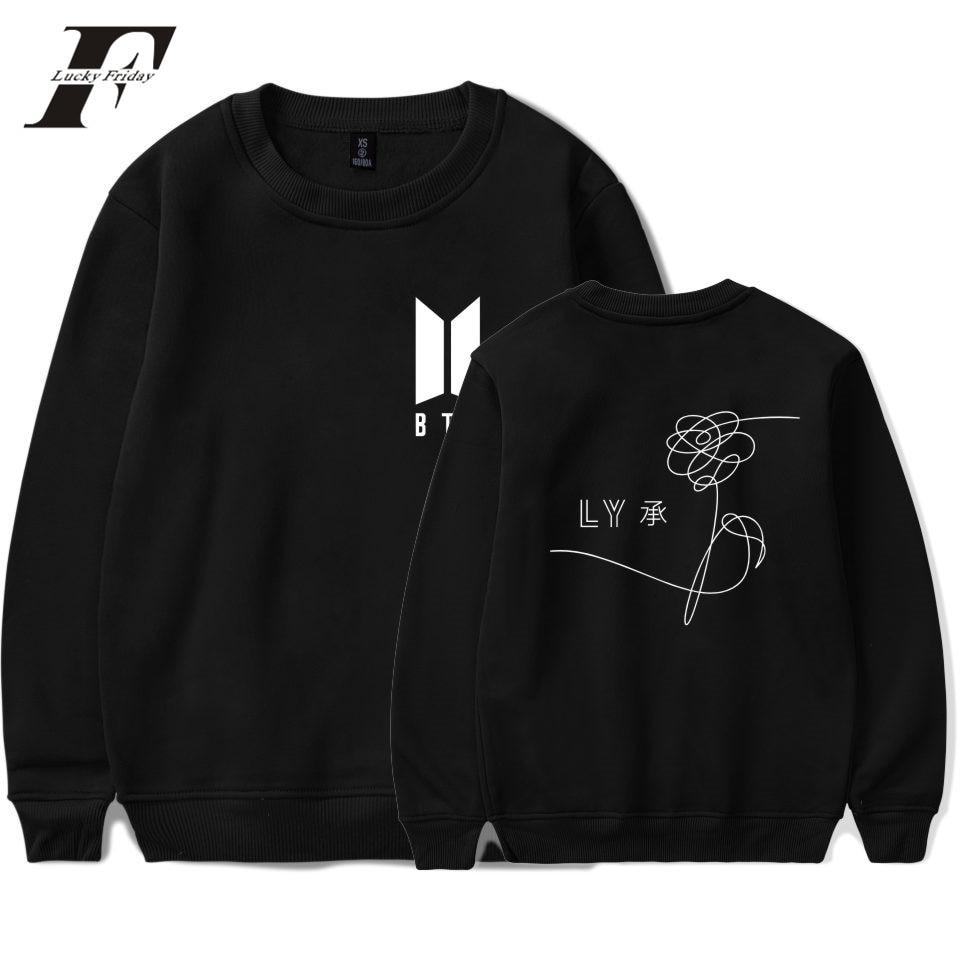 LUCKYFRIDAYF BTS Sweatshirt Love Yourself Winter Hoodie Men Hip Pop Warm Cotton Sweatshirt Creative Design Casual Pullover Pink