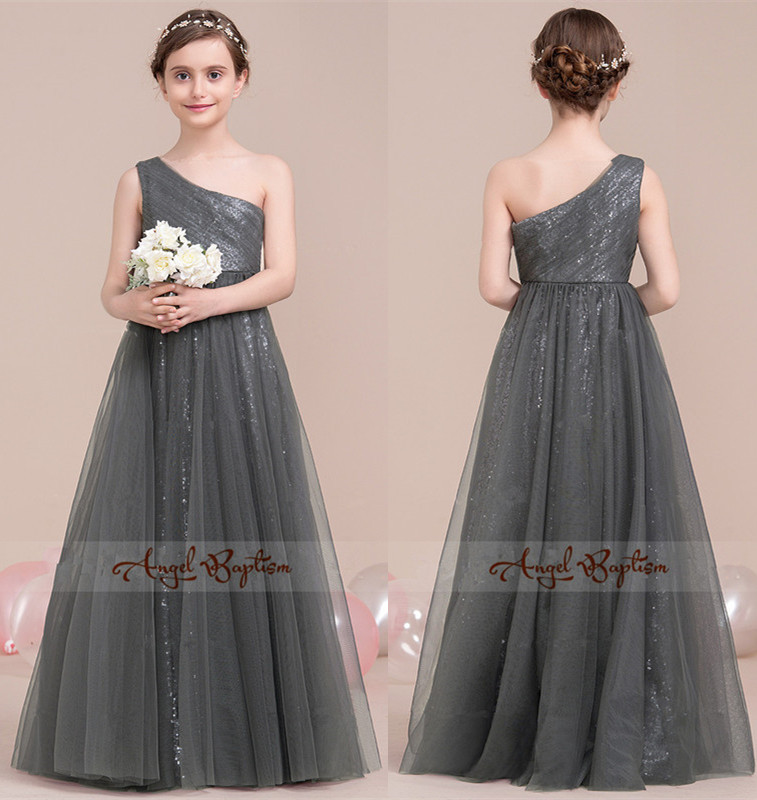 Sparkly bling sequined gray flower girl dress A-Line/Princess One-Shoulder Floor-Length Tulle for Junior Bridesmaid With Ruffle ruffle trim a line dress