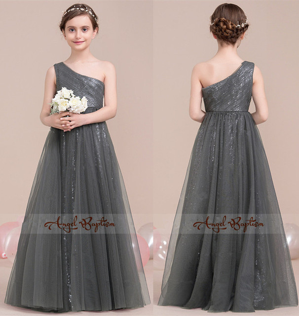 Sparkly bling sequined gray flower girl dress A-Line Princess One-Shoulder  Floor-Length Tulle for Junior Bridesmaid With Ruffle cc7305063
