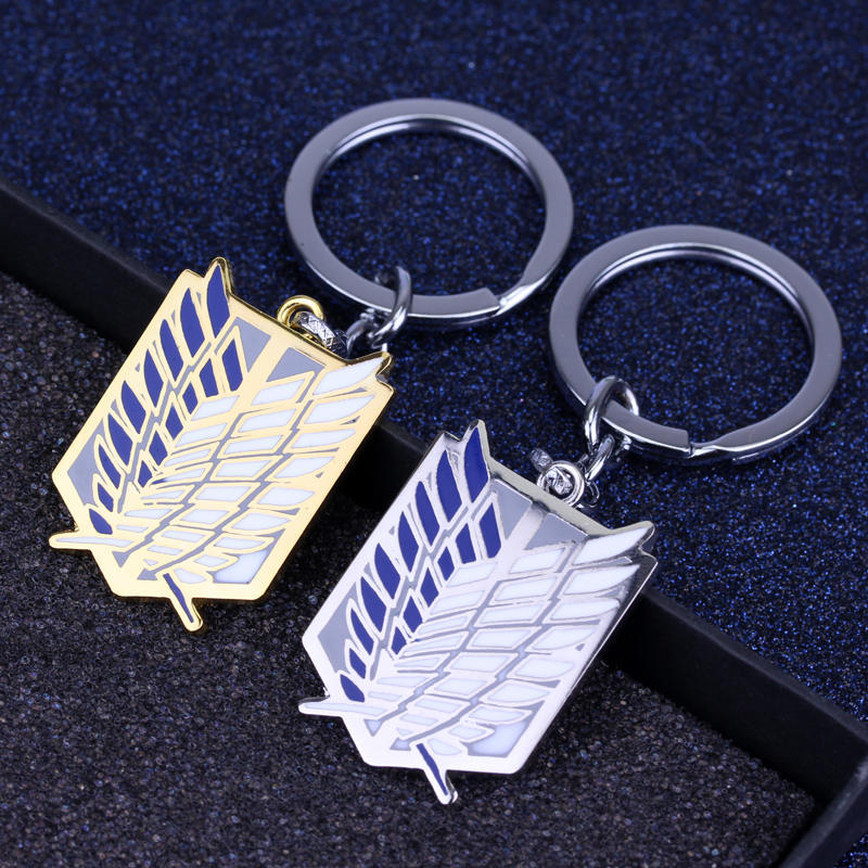 100 Pcs/lot Anime Attack On Titan Silver Drip Keychains toy Giant Legion Flag Cosplay Jewelry Key Ring Car Key Holder gift