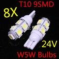 2015 nuevo 8X24 v T10 9 SMD 5050 W5W Coche de luz led Lateral cuña Del Bulbo Blanco del xenón 194 927 161 168 Auto Interior Embalaje Styling Car