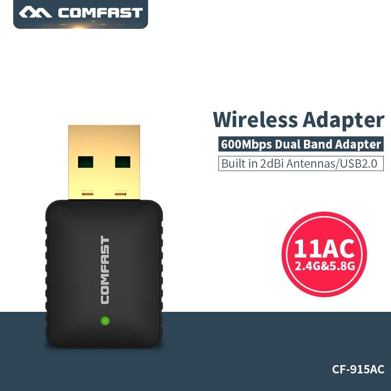 Adattatore WiFi USB WiFi 5GHz + 2.4 GHZ Dual Band 802.11ac Adattatore Wi-Fi 600 mbps usb wifi antenna wifi Rete LAN Ricevitore della scheda