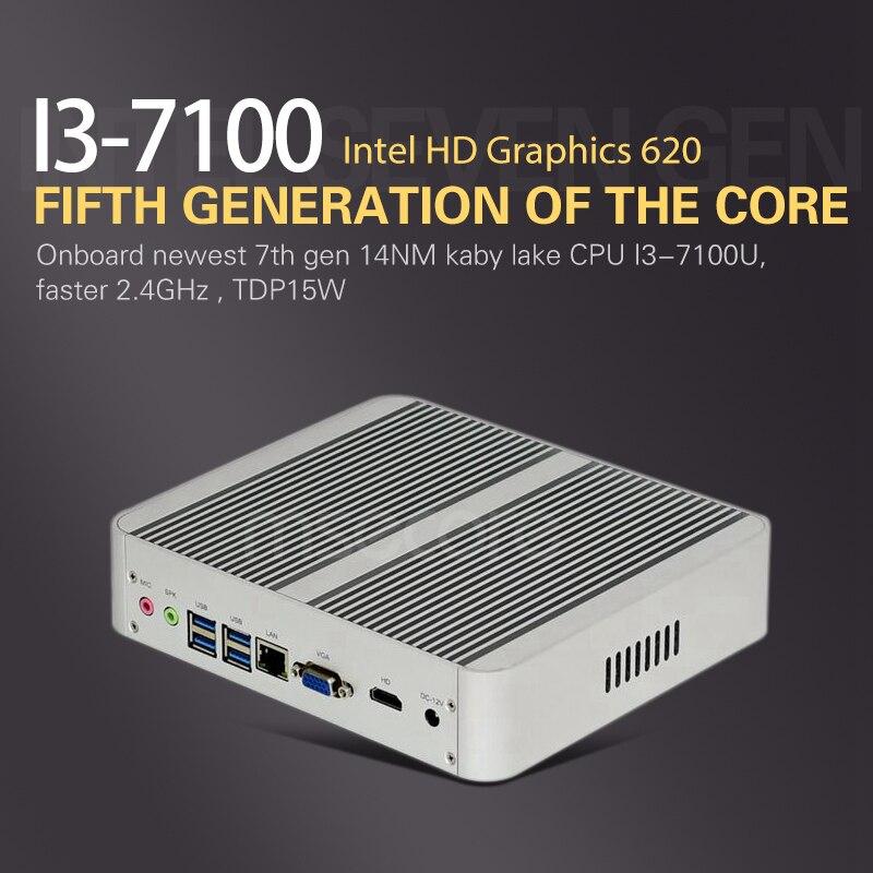 Fanless Intel Core i3 7100U Mini PC Desktop Computer Windows 10 barebone system Nettop Kabylake HTPC