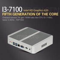 Msecore безвентиляторный Intel 7th Gen Core i3 7100U Mini PC Настольный компьютер Windows 10 barebone системы неттоп HTPC HD620 Графика Wi Fi