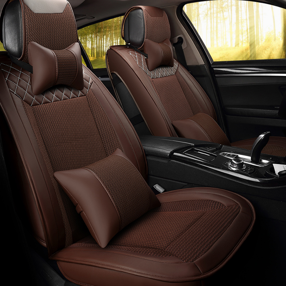 Universal Luxury Breathable Leather Fabric Automobiles <font><b>Seat</b></font> <font><b>Covers</b></font> Durable Car <font><b>Seat</b></font> <font><b>Cover</b></font> For Four Season Car Accessories