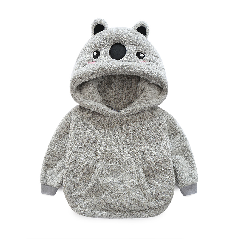 Mudkingdom Girls Winter Thermal Hooded Coat Boys Long Sleeve Bear Shaped Lamb Plush Kids Warm Baby Girl Clothes Cute Tops doubchow adults womens mens teenages kids boys girls cartoon animal hats cute brown bear plush winter warm cap with paws gloves page 7