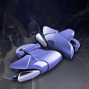 Image 2 - Azul shark design pubg telefone inteligente móvel gaming trigger pubg controlador móvel fogo/aim botão l1 r1 shooter joystick gamepad
