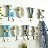 American Wooden Letter Decoration Hook Wall Hanging Coat Rack Home Clothes Hook Key Holder Organizer Key Hanging Holder Wall