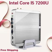 Mini PC Безвентиляторный 4 К HTPC Безвентиляторный Intel HD Graphics 620 stick Usb 3.0 компьютер Core i5 7200U Кабы Lac Win10 Бесплатная Доставка 8 ГБ ОПЕРАТИВНОЙ ПАМЯТИ