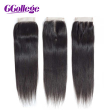 CCollege Brazilian Human Hair Straight 8-20 Inch 4*4 Top Lace Closure Free/Middle/Three Part Tissage Bresiliens Avec Closure(China)