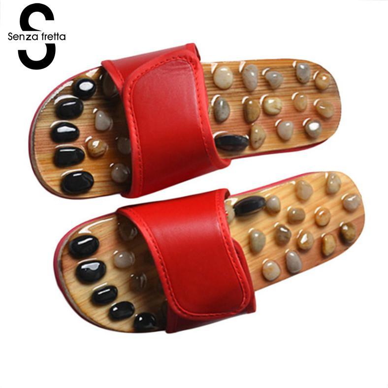 купить Senza Fretta 2018 New Women Shoes Summer Massage Slippers Reflexology Slippers Foot Massager Health Care Acupuncture Slippers онлайн