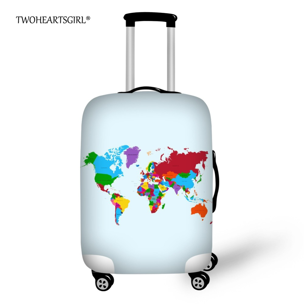 World Map Travel Suitcase Elastic Dust Cover Trolley Case Luggage Protector case for 18 ~ 30 inch Suitcase Protective Cover image