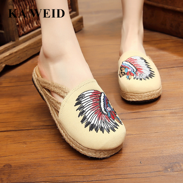 8a284f4840fb KA WEID Indian Totem Slippers Hemp Handmade Shoes Slides Flip Flop On The  Platform For Women Slippers