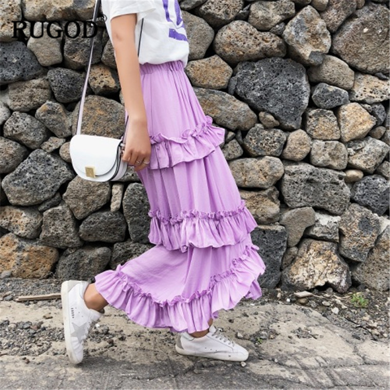 Las Coreano Estilo púrpura Rugod Dulce Cintura De Modis Suelto Falda Capas Borde Alta Rosado Mujeres Múltiples 2019 Casual Irregular Rizado Nuevo qwAwxRZaI