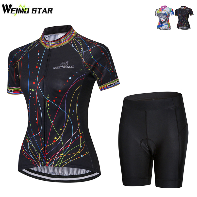 Weimostar 2018 Summer Short Sleeve Cycling Jersey Set Women Breathable Quick Dry Bike Jersey mtb Bicycle Wear Cycling Clothing