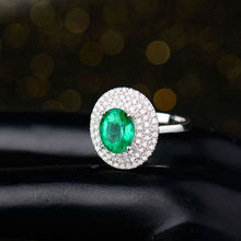 Luxury Emerald Gemstone Rings 7x9mm Oval Cut Solid 18K White Gold Anniversary Ring Diamond Jewelry for Women Birthday Gift