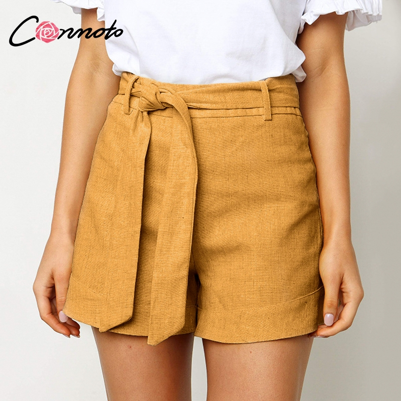 Conmoto Solid Color Shorts Women Summer Casual Holiday Sashes Thin Shorts Female High Waist Stylish Shorts