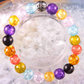 "Free Shipping Silver Stretch 10mm Round Beads Natural Stone Multi-color Quartz Bracelet 8"" 1Pcs LH1780"