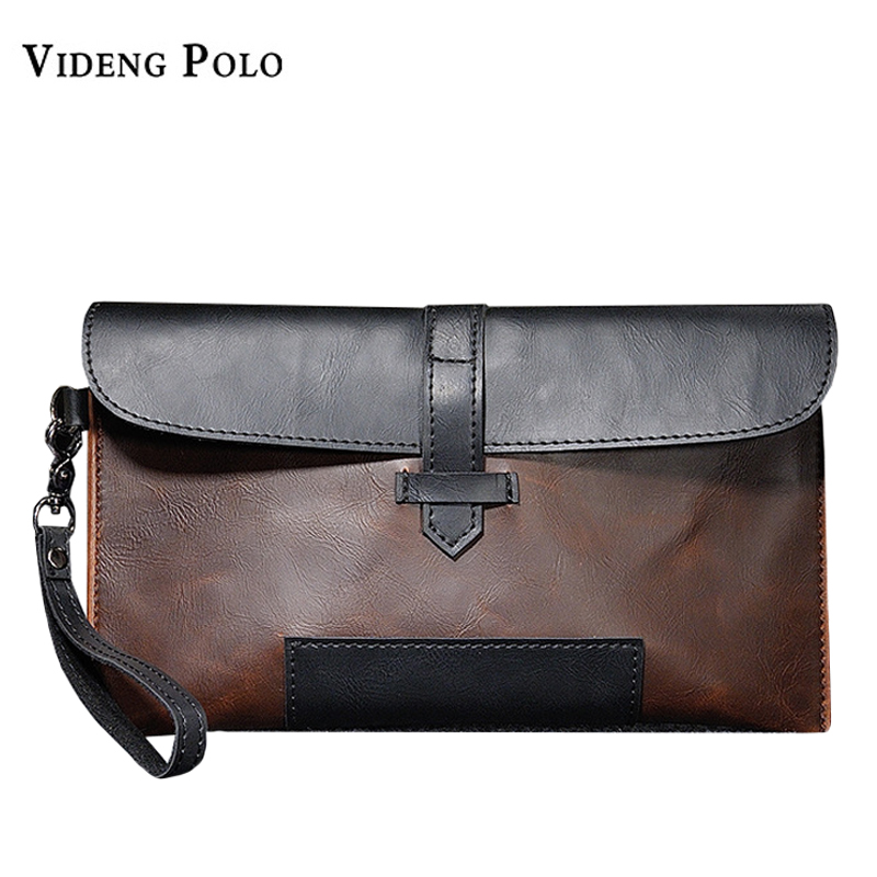 VIDENG POLO Men Wallet New Brand High Quality Leather Clutch Bag Vintage Large Capacity Cellphone Purse Handy Bag Card Holder brand double zipper genuine leather men wallets with phone bag vintage long clutch male purses large capacity new men s wallets