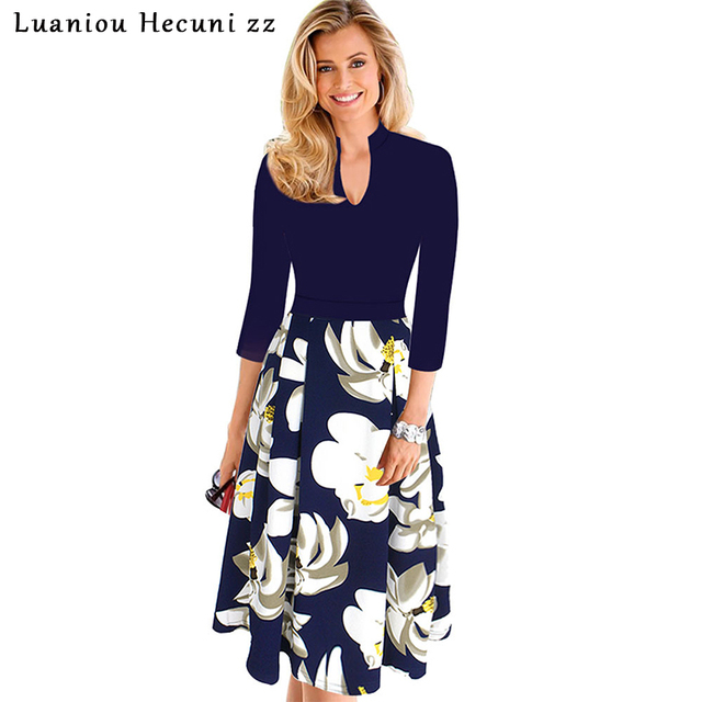 US $20.99 49% OFF|Chu Ni Plus Size 4X Women Elegant Work Party Skater A  line Dress Floral Print Patchwork Vintage Slim Tunic Summer Dresses M015-in  ...