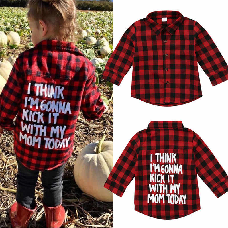 068834765 Kids Baby Boys Girls Clothes Plaid Long Sleeve letter print Button Tops  Toddler turn-down