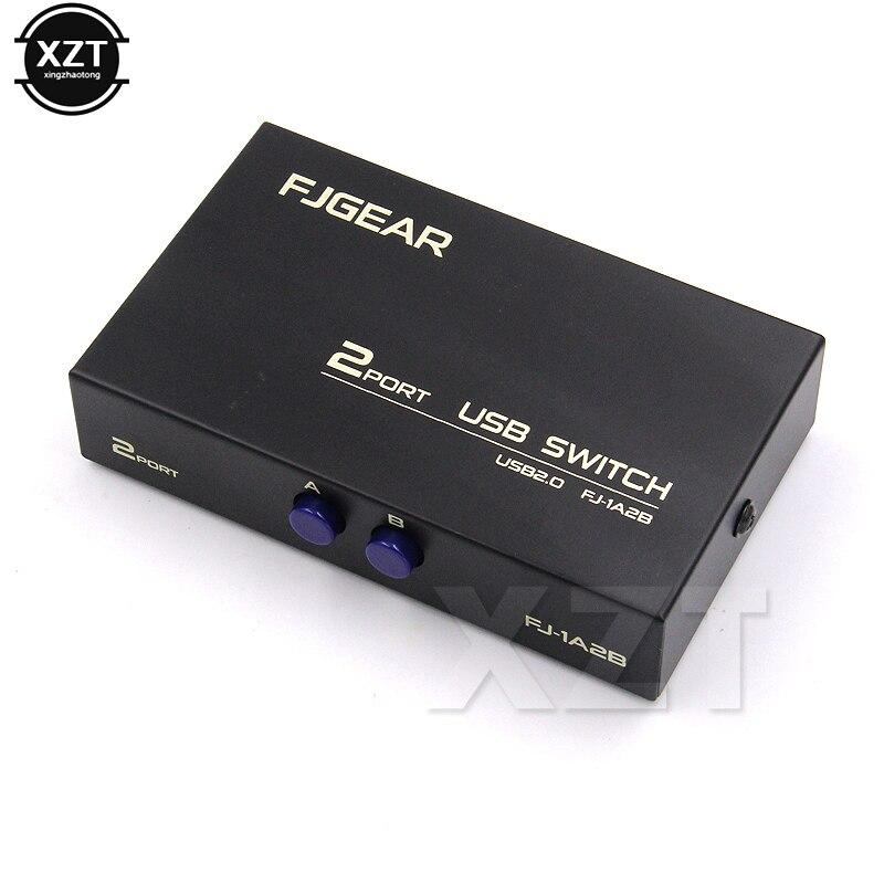 1 pçs sem fio usb 2.0 interruptor de compartilhamento switcher 2 portas adaptador caixa para impressora scanner pc alta velocidade preto